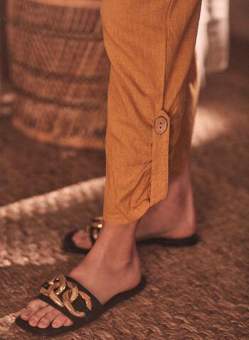 Chapter One - Capri à enfiler et détail bouton, Jaune,  capri, jambe étroite, élastique, lin, cordon, poches, bouton, à enfiler, pull-on, printemps été 2021