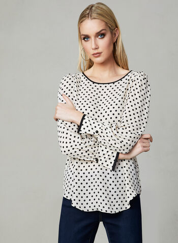 Polka Dot Print Blouse, White, hi-res,