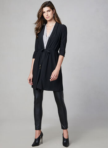 Gathered Sleeve Open Front Top, Black,  Canada, top, open front, drawstring, 3/4 sleeves, jersey, fall 2019, winter 2019