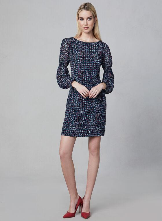 Karl Lagerfeld Paris - Robe droite à motif abstrait, Noir, hi-res