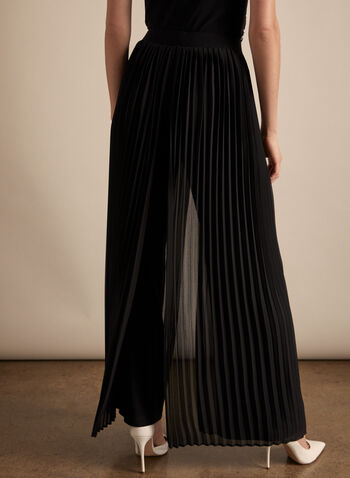 Frank Lyman - Pleated Wide Leg Pants, Black,  spring summer 2020, jersey fabric, pleated chiffon overlay, pull-on, wide leg