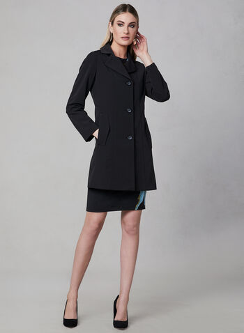 Portrait - Front Button Raincoat, Black, hi-res,  Spring 2019, rain coat, trench, made in Canada