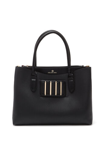 Céline Dion – Faux-Leather Satchel, Black, hi-res