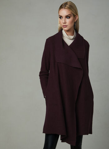 Drape Front Wool Coat, Purple, hi-res