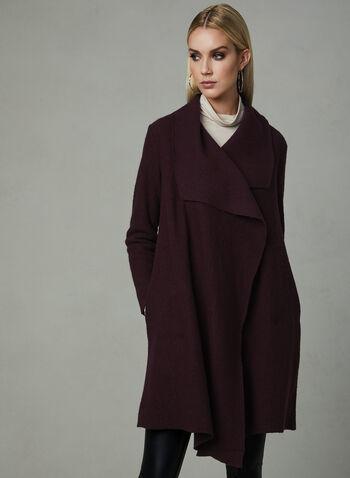 Manteau en laine ouvert en cascade, Violet, hi-res