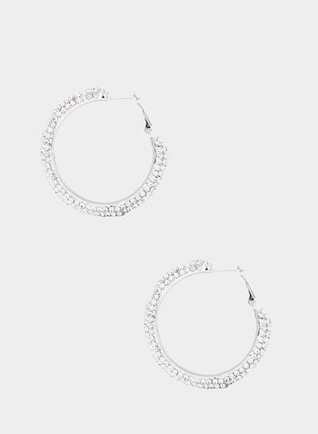 Crystal Hoops Earrings, Silver, hi-res,  Rhinestone hoop earrings