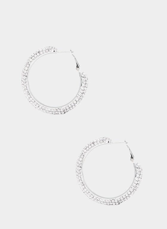 Crystal Hoops Earrings, Silver