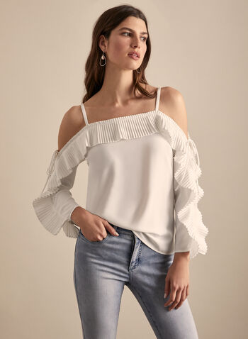 Joseph Ribkoff - Pleated Sleeve Top, Off White,  spring summer 2020, long pleated sleeves, off-the-shoulder neckline, cold-shoulder cutouts, crepe, made in Canada, Joseph Ribkoff
