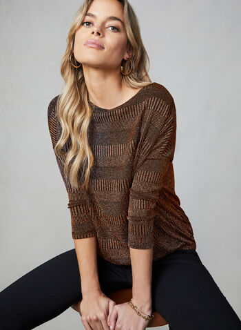 Sequined Knit Dolman Sleeve Top, Gold,  top, dolman sleeves, knit, sequined, boat neck, fall 2019, winter 2019