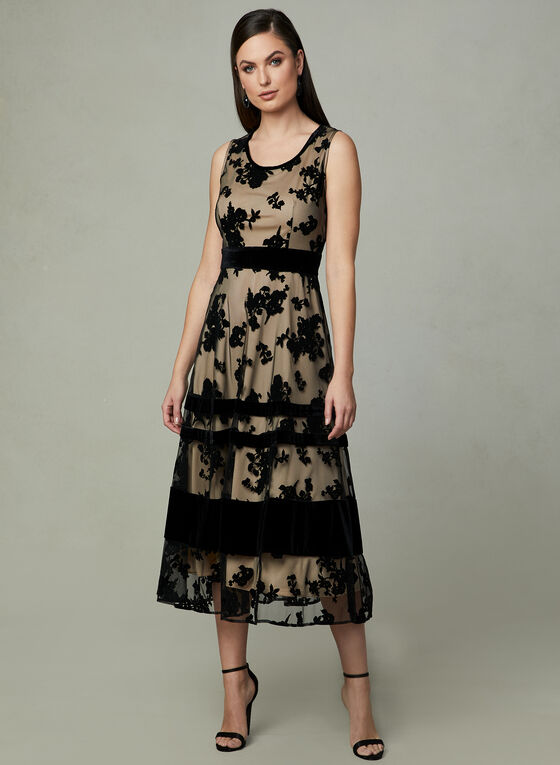 Taylor - Sleeveless Flocked Velvet Dress