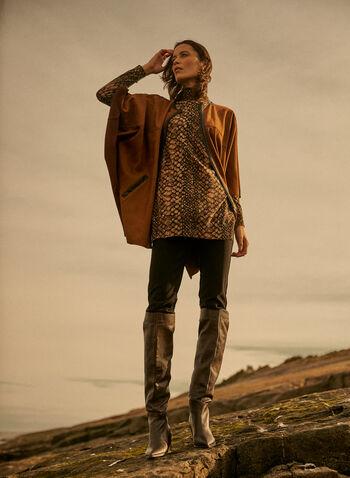 Snakeskin Print Tunic Sweater, Brown,  sweater, knit, tunic, mock neck, long sleeves, snakeskin print, fall winter 2021