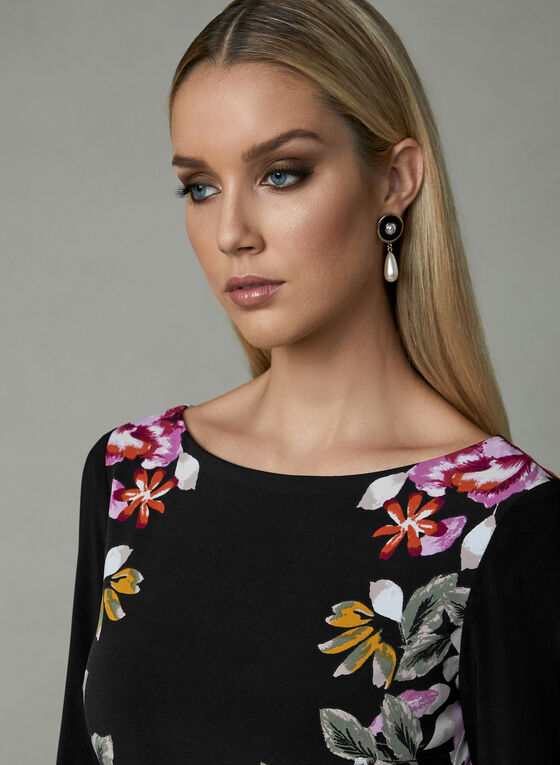 Frank Lyman - Floral Print Dress, Black, hi-res