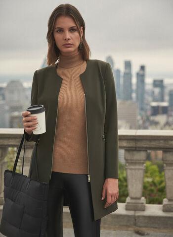 Front Zip Redingote, Green,  jacket, redingote, zipper, long sleeves, martingale, fall winter 2020
