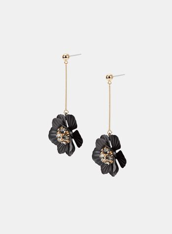 Crystal Cluster Floral Pendant Earrings, Black, hi-res