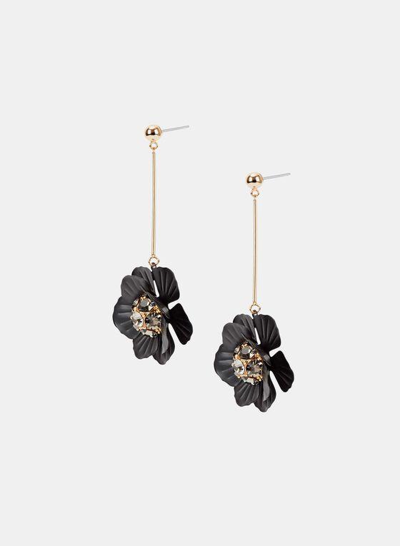 Crystal Cluster Floral Pendant Earrings, Black, hi-res