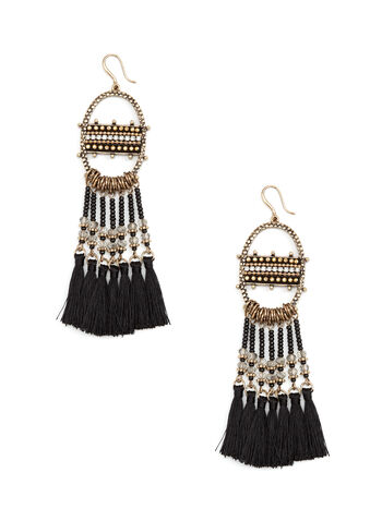 Beaded Tassel Dangle Earrings, Black, hi-res