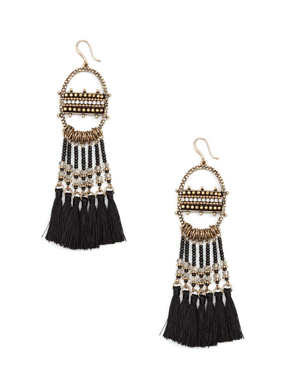 Boucles d'oreilles à pendants en perles et pompons, Noir, hi-res
