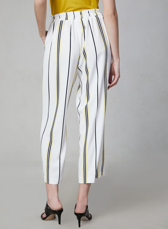 Stripe Print Culottes, White, hi-res