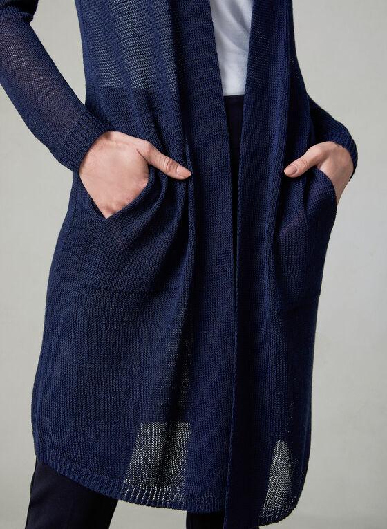 Long Open Front Cardigan, Blue, hi-res
