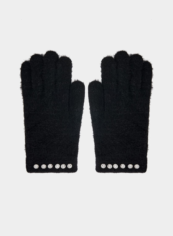 Karl Lagerfeld Paris - Gants en tricot poilu, Noir