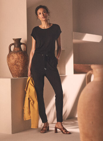 Drawstring Detail Knit Jumpsuit, Black,  spring summer 2021, short sleeve, extended sleeve, round neck, boat neck, drawstring, tie detail, comfort, stretch, knit, jersey, jumpsuit, weekend wear
