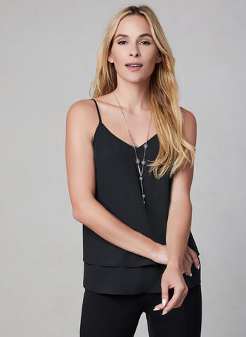 Spaghetti Strap Camisole, Black, hi-res,  camisole, sleeveless, spaghetti straps, V-neck, fall 2019, winter 2019