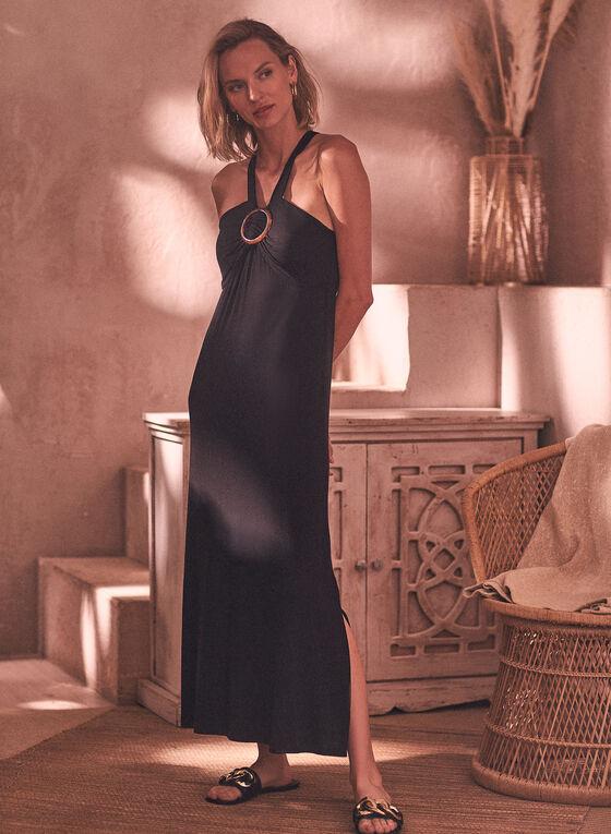 Halter O Ring Maxi Dress, Black