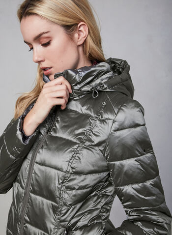 Novelti - Long Down Coat, Silver, hi-res,  fall winter 2019, faux down, nylon, long sleeves, zipper, hood