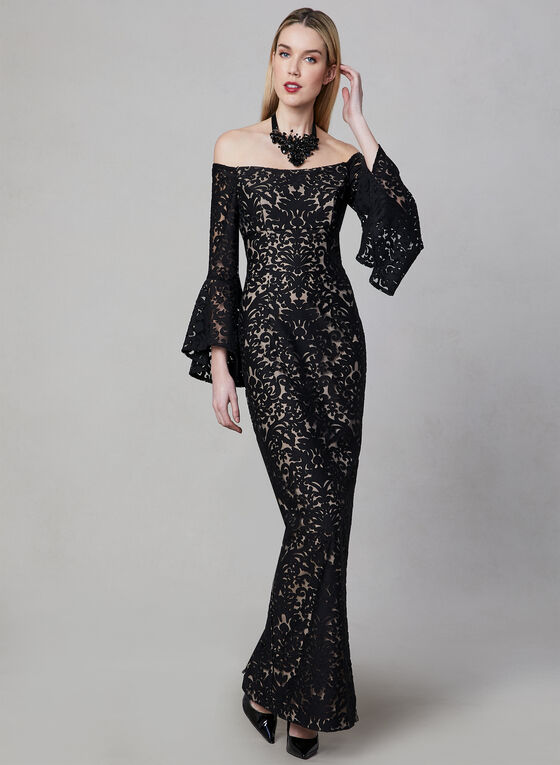 BA Nites - Burnout Velvet Gown, Black