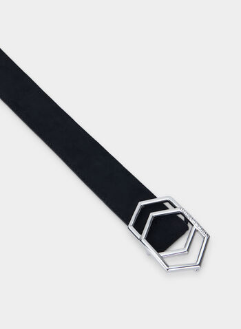 Vince Camuto - Geometric Buckle Belt, Black,  Vince Camuto, belt, buckle, fall 2019, winter 2019
