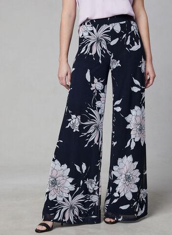 Frank Lyman - Floral Print Mesh Pants, Blue, hi-res