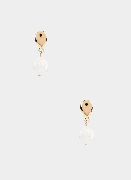Teardrop Pearl Earrings, Off White