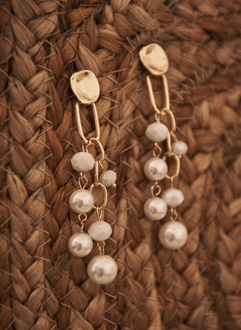Pearl Dangle Earrings, Off White,  Spring summer 2021, accessories, accessory, jewelry, jewellery, beads, stones, pearls, links, dangle, cascade