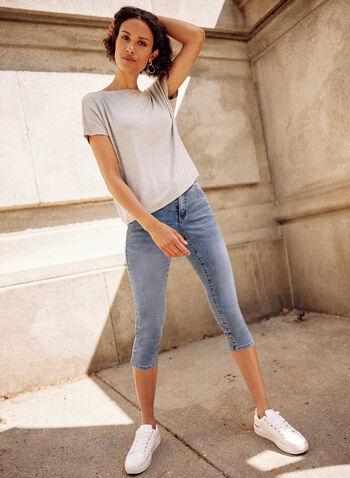 Capri en denim , Bleu,  printemps été 2021, bas, jeans, denim, jambe étroite, étroit, bouton, glissière, anses