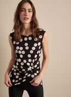 Sleeveless Polka Dot Print Top, Black