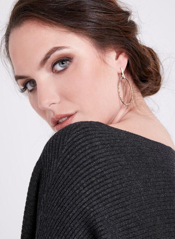 Dolman Sleeve Rib Knit Sweater, Grey, hi-res