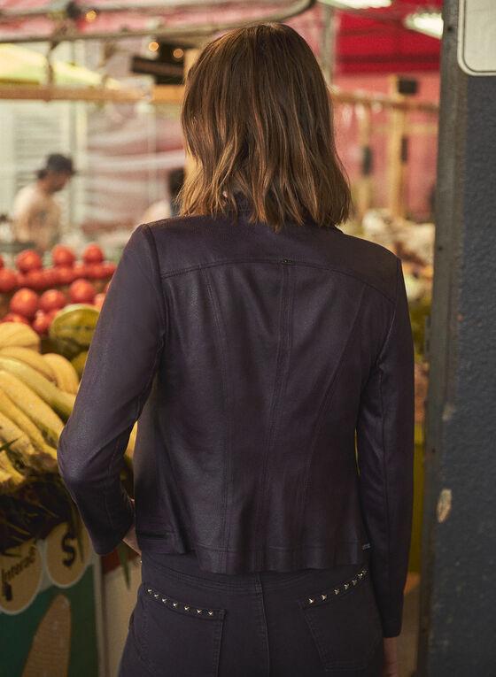 Vex - Faux Leather Zipper Detail Jacket, Purple