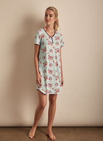 Comfort & Co. - Short Sleeve Floral Print Nightgown, Blue,  Comfort & Co, nightgown, short sleeves, pyjama, sleepwear, floral print, spring 2020, summer 2020