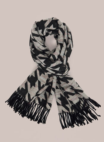 Houndstooth Print Scarf, Black,  scarf, houndstooth, fringe, fall winter 2020
