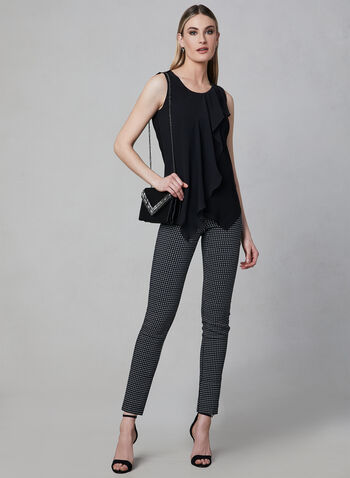 Asymmetrical Sleeveless Top, Black, hi-res,  Canada, sleeveless, chiffon overlay, jersey, asymmetrical, spring 2019