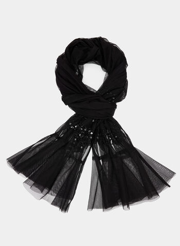 Sequined Mesh Scarf, Black, hi-res