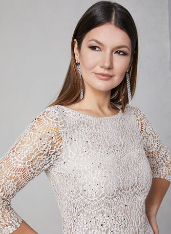 Eliza J - Sequin Lace Dress, Off White, hi-res