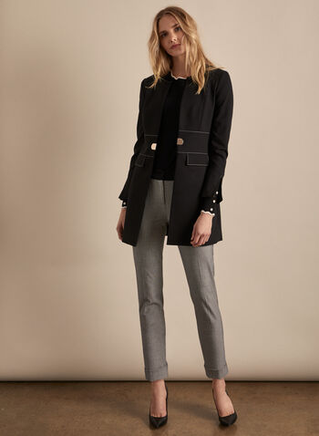Pantalon Giselle aspect sergé, Noir,  pantalon, giselle, jambe étroite, ourlet, sergé, printemps été 2020