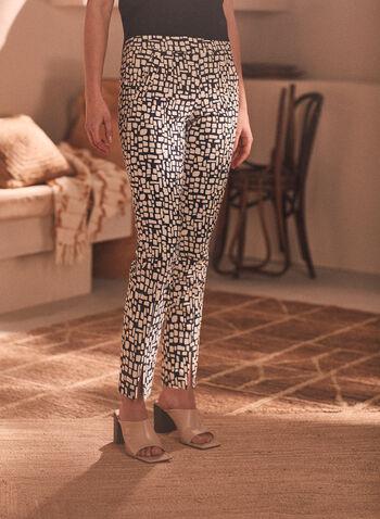 Pantalon pull-on à motif géométrique , Noir,  pantalon, pull-on, géométrique, bengaline, longueur cheville, poches, printemps été 2020