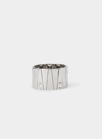 Rectangular Stone Stretch Bracelet, Silver,  bracelet, stretch, wide sectioned, rectangular stone inserts, fall 2019