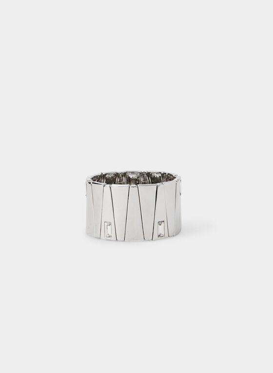 Rectangular Stone Stretch Bracelet, Silver, hi-res