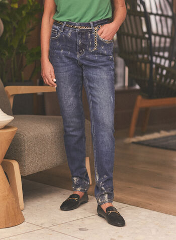 Chain Belt Slim Leg Jeans, Blue,  jeans, denim, slim leg, worn, gold dust, chain, belt, pockets, spring summer 2021