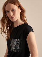 Sequin Pocket Top, Black