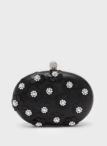 Pochette satinée avec fleurs en perles, Noir, hi-res