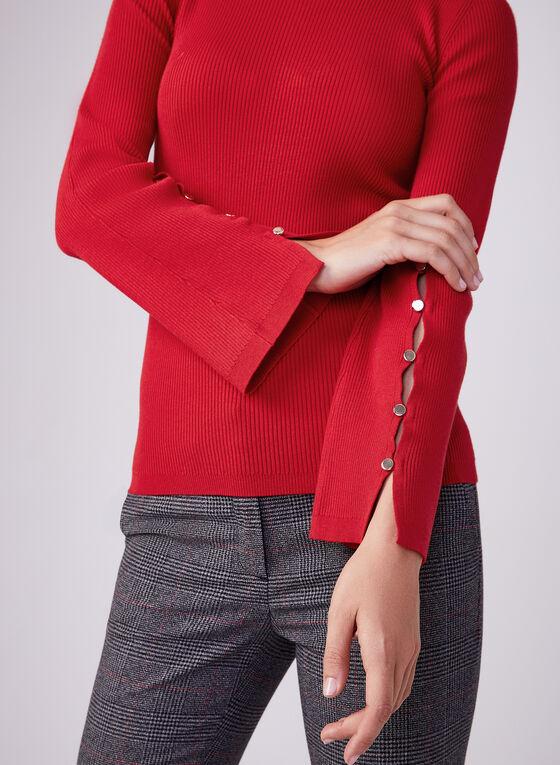 Pull en tricot à manches longues cloche, Rouge, hi-res